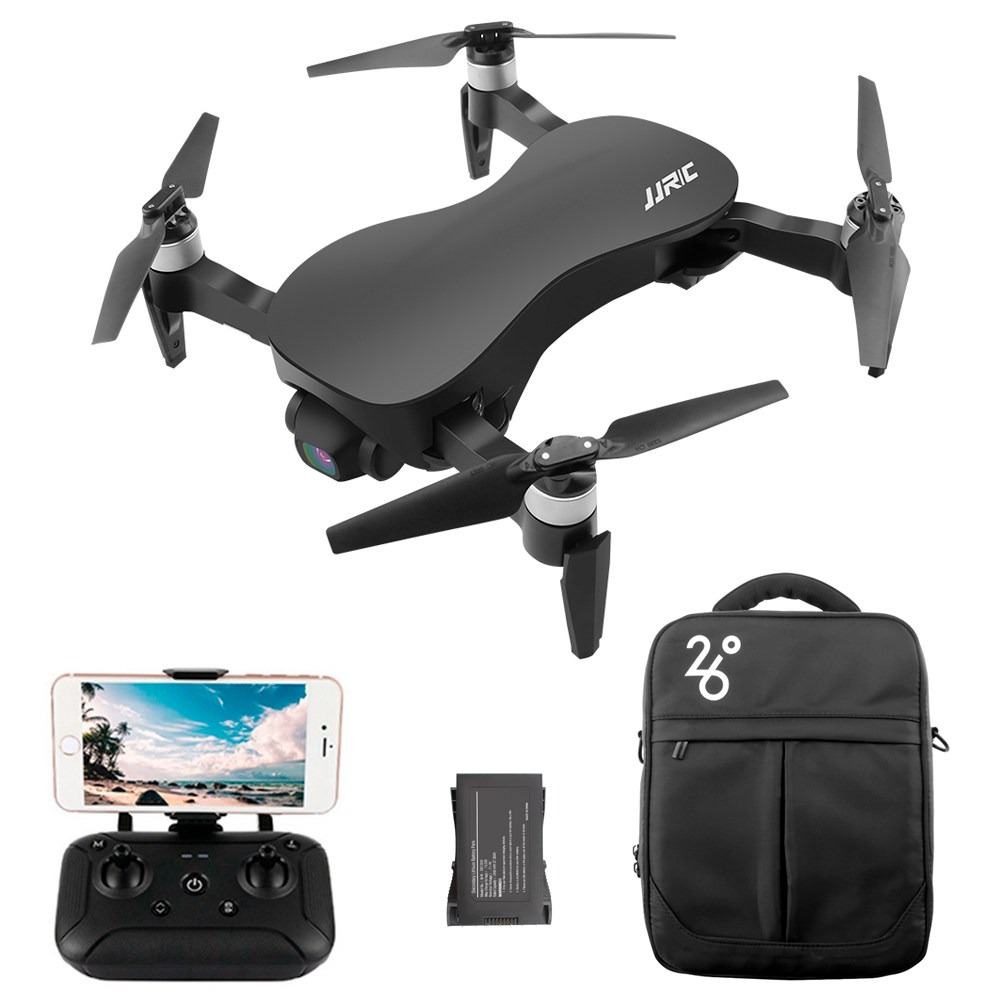 JJRC X12 AURORA 4K 5G WIFI 1.2km FPV GPS Foldable RC Drone With 3Axis Gimbal 50X Digital Zoom Ultrasonic Positioning RTF - Black Two Batteries with Bag