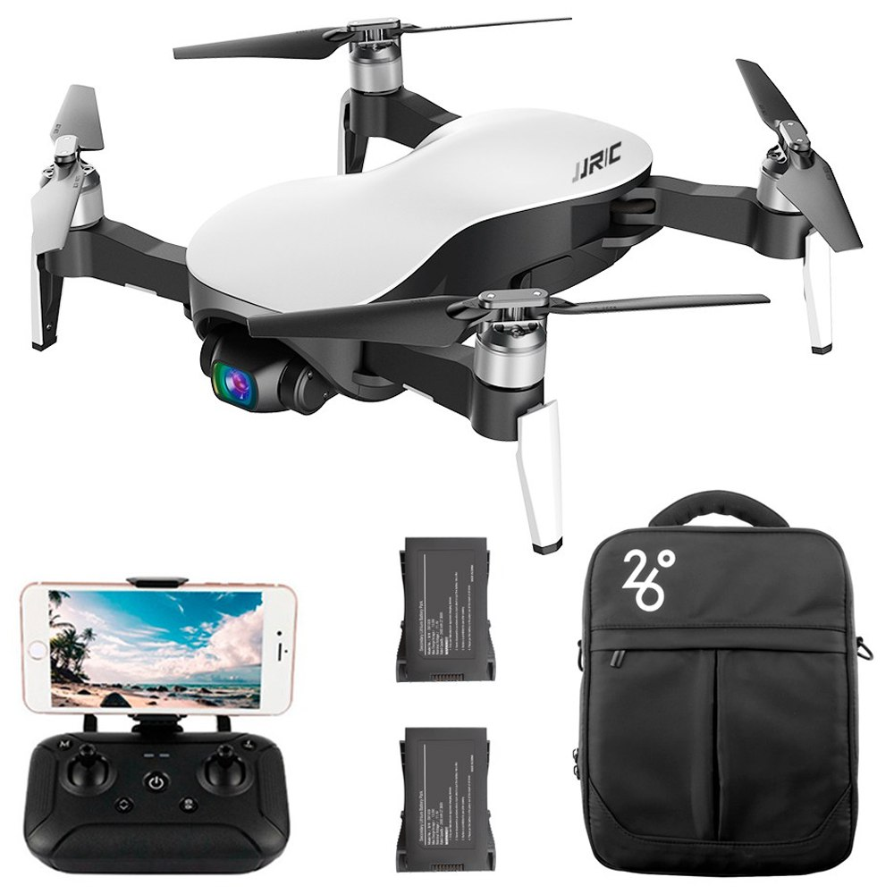 JJRC X12 AURORA 4K 5G WIFI 1.2km FPV GPS Foldable RC Drone With 3Axis Gimbal 50X Digital Zoom Ultrasonic Positioning RTF - White Three Batteries with Bag