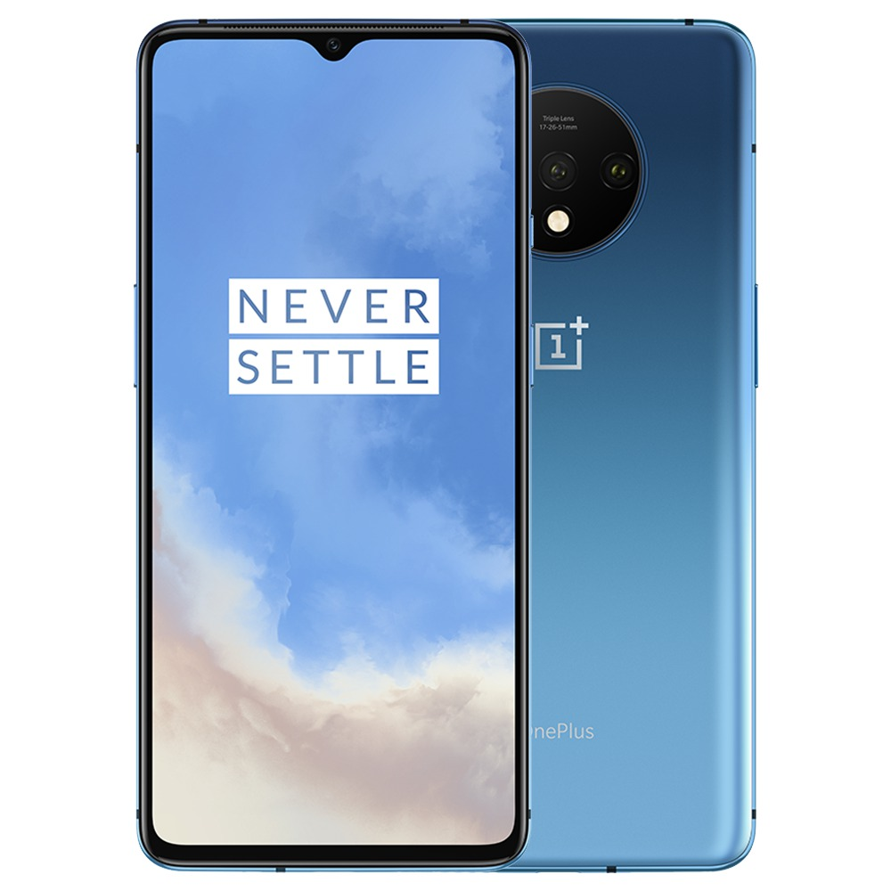 OnePlus 7T 6.55 Inch 4G LTE Smartphone Snapdragon 855 Plus 8GB 256GB 48.0MP+12.0MP+16.0MP Triple Rear Cameras NFC Face Unlock Oxygen OS Android 10.0 Global Rom - Glacier Blue