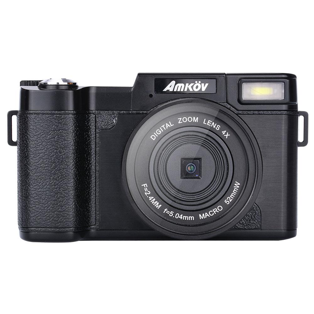 Fotocamera digitale AMKOV CD-R2 3 pollici 1080P 4X Zoom digitale 180 Rotazione gradi - Nero