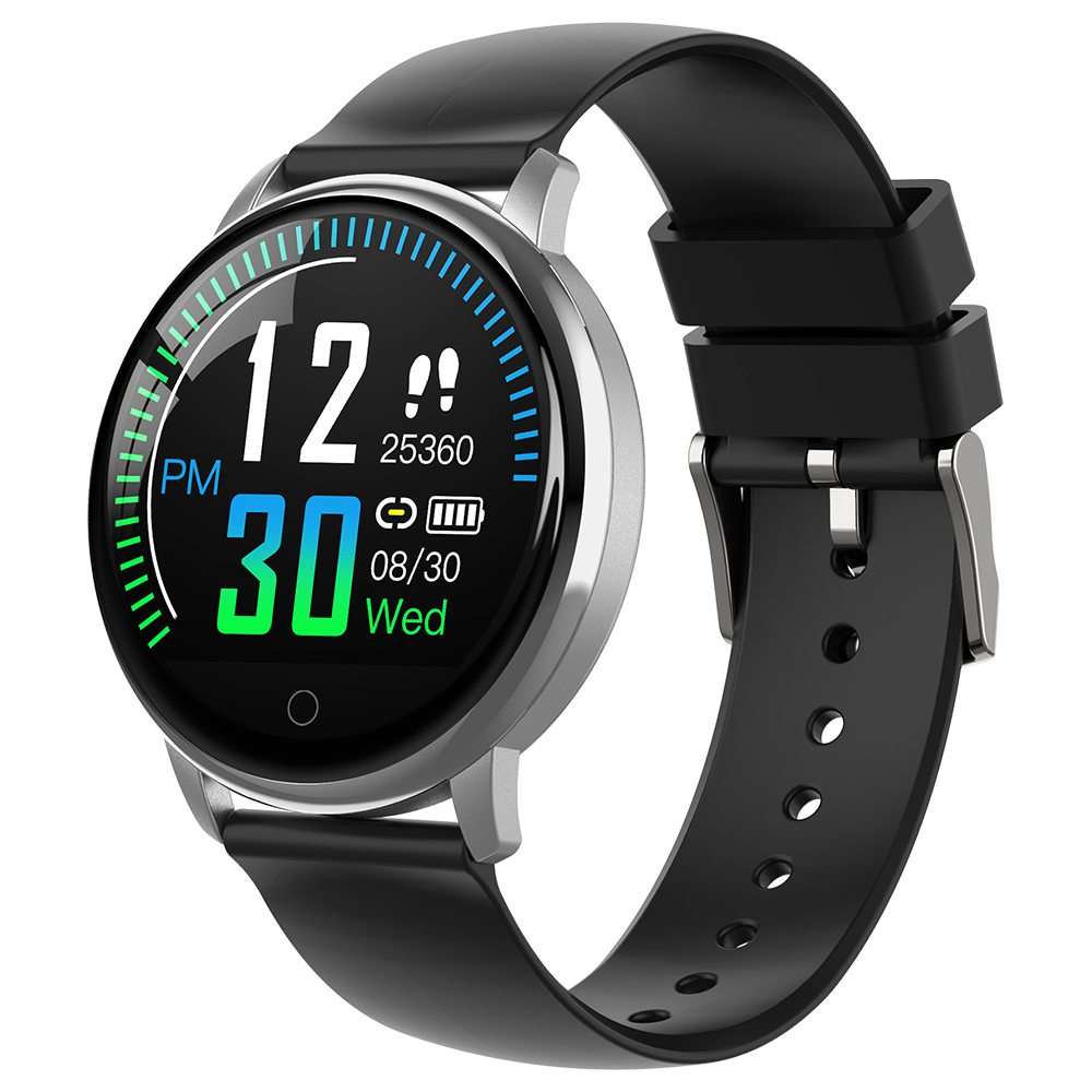 Makibes E38 Smartwatch 1.22 Inch IPS Colorful Screen IP67 Waterpoof Heart Rate Blood Pressure Monitor Black Silicone Strap - Silver