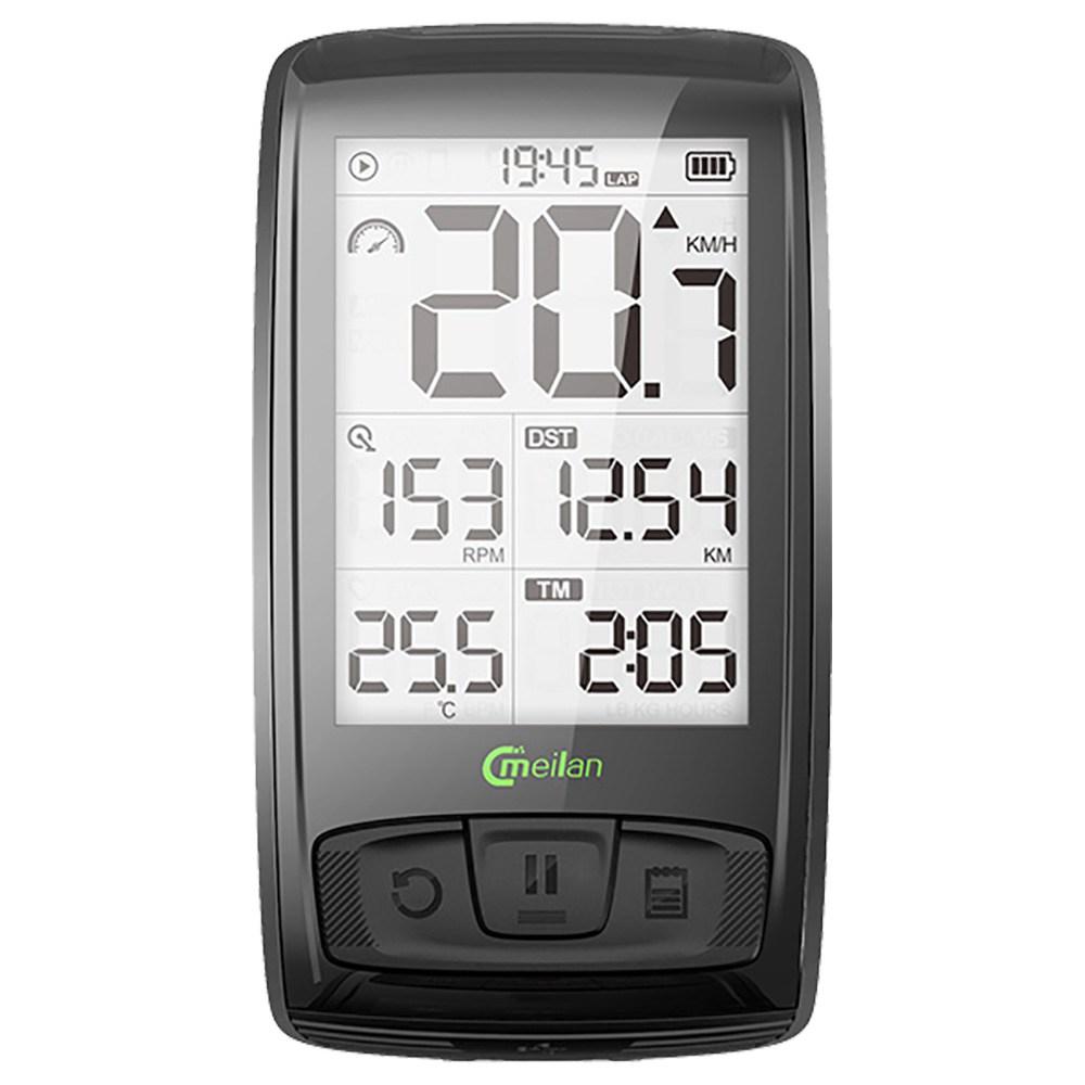 Meilan M4 Bike Computer Wireless Speedometer Odometer 2.5 Inch IML Mirror Surface Screen - Black фото