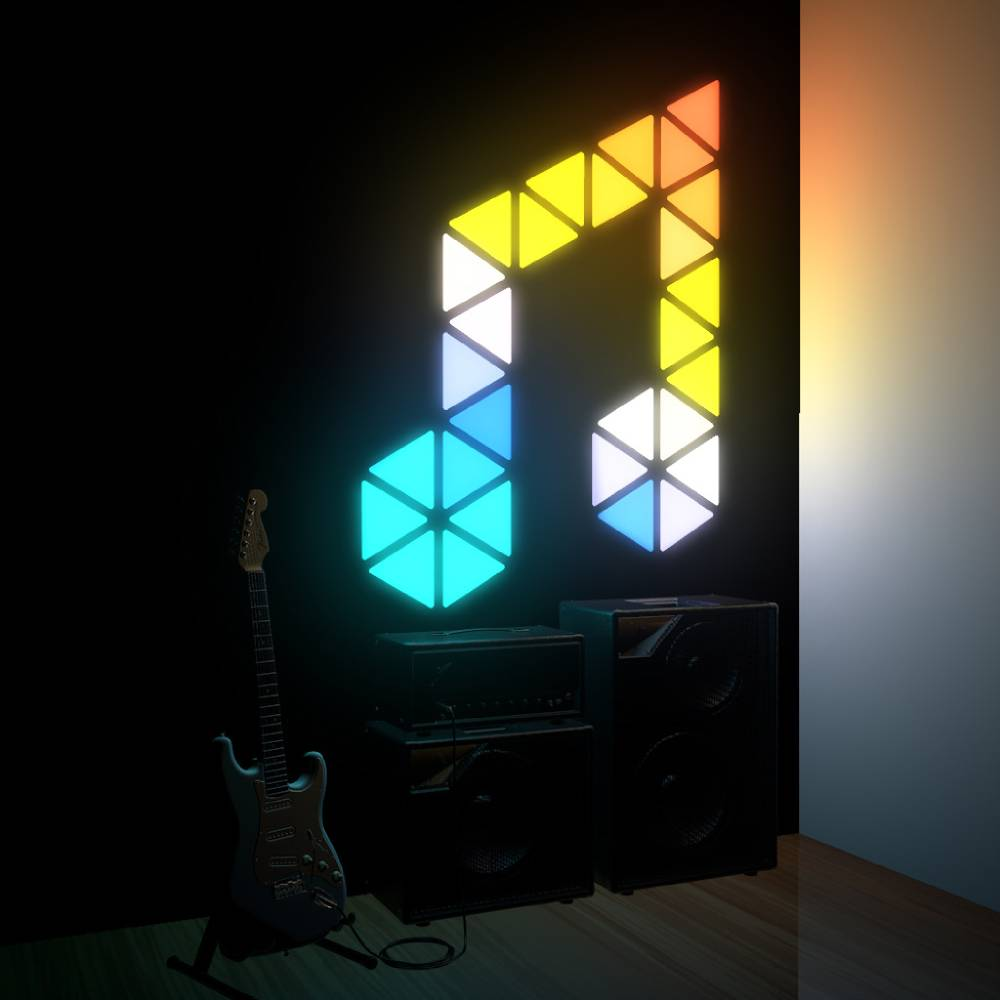 18pcs Creative Triangle Modular Touch-sensitive Light For Indoor Decoration APP Control - EU Plug фото