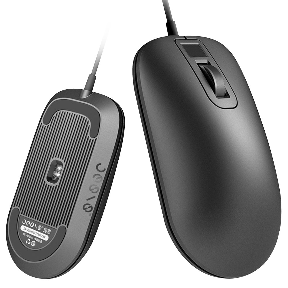 Jesis Fingerprint Mouse 125Hz Polling Rate Smart Portable For Home Office From Xiaomi Youpin - Black