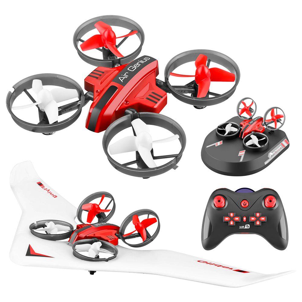 L6082 Air Genius RC Quadcopter Airplane Tiny Whoover All-In-One DIY 2.4G RC Drone For Kids Gift RTF Red - One Battery Version