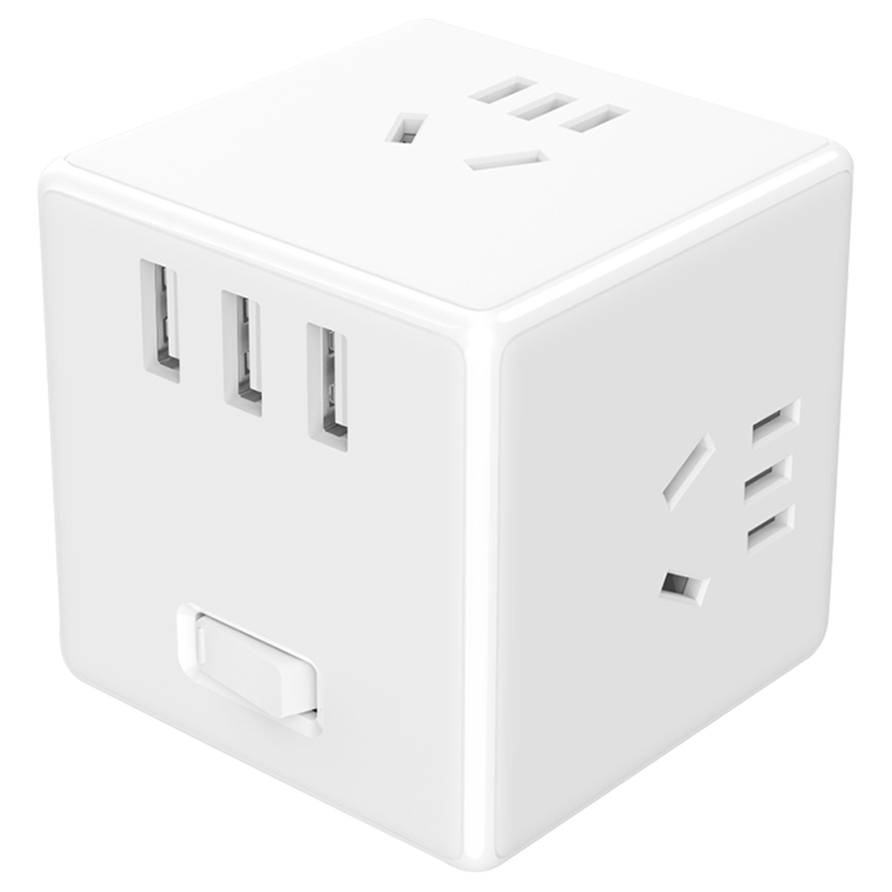 Xiaomi Mijia Magic Cube Converter 3 USB Ports Fast Charge Plug Socket Adapter Wired Version - White