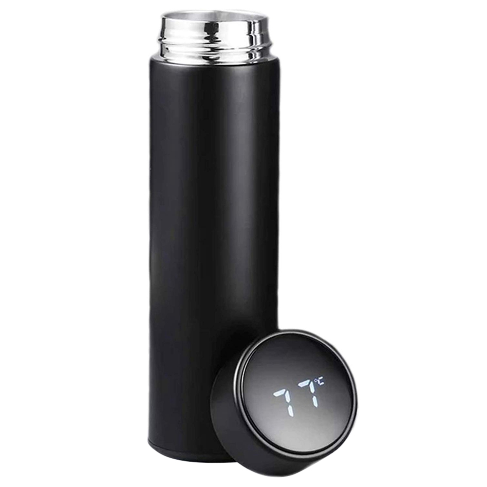 500ML Smart Thermos Cup Portable 304 Stainless Steel With LCD Temperature Display - Black