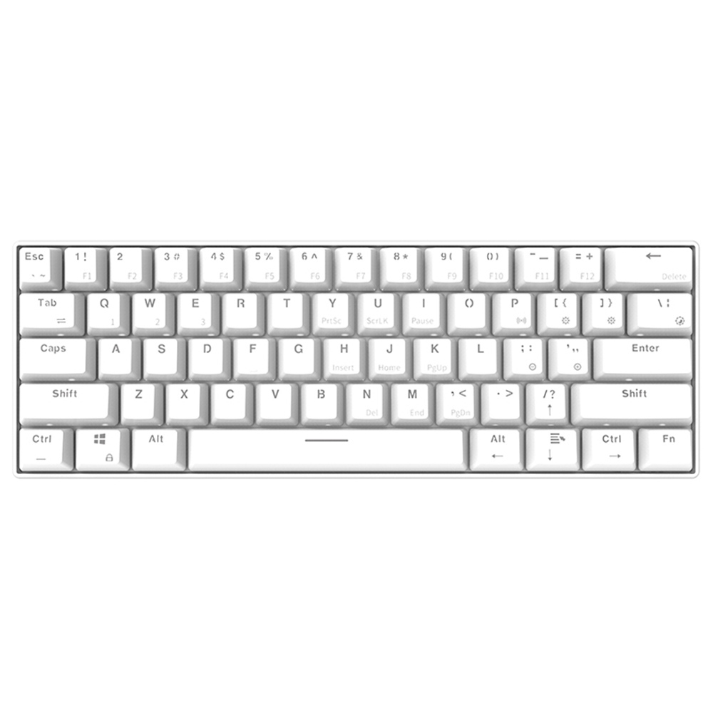 Ajazz i610T Bluetooth 3.0 Wireless / Wired Dual-Mode Mechanical Backlight Keyboard 61 Key - White