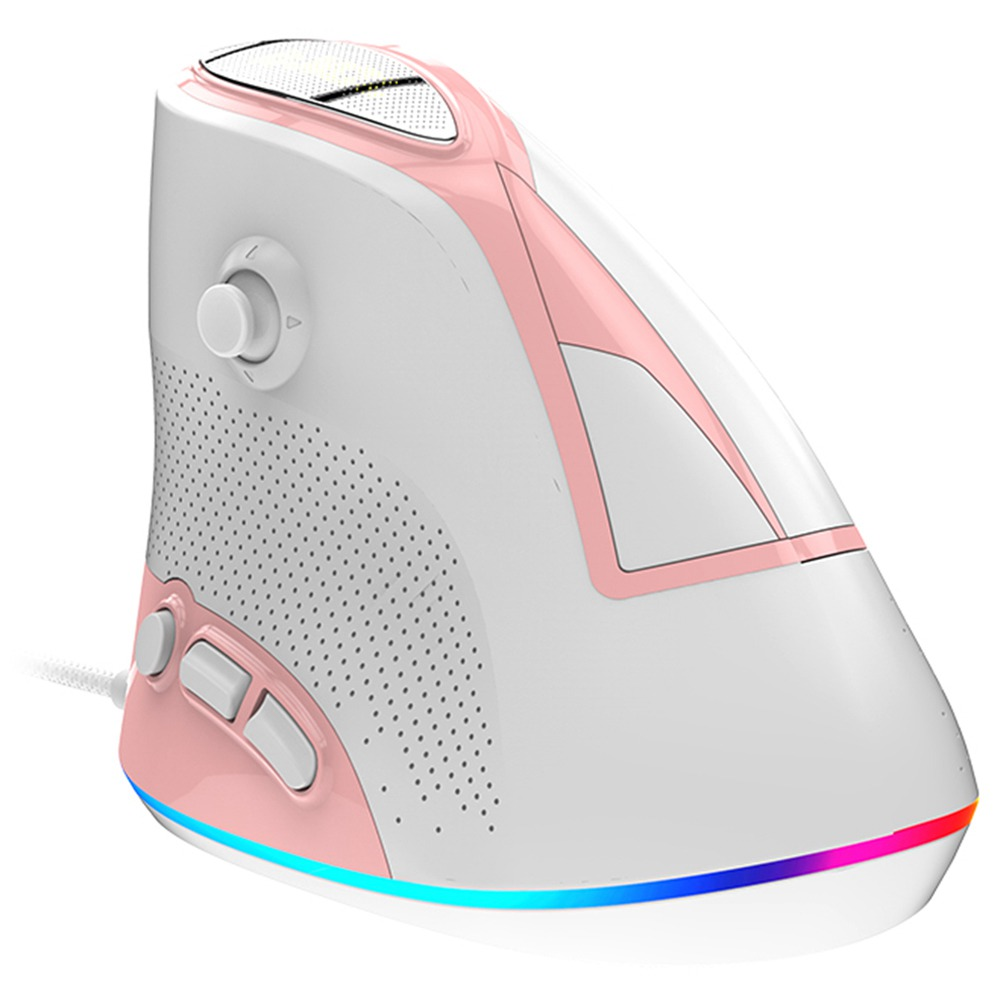 Ajazz AJ307 USB Wired Vertical Mouse Ergonomic Design 7 keys RGB Backlit 4800DPI Gaming Mouse - Pink