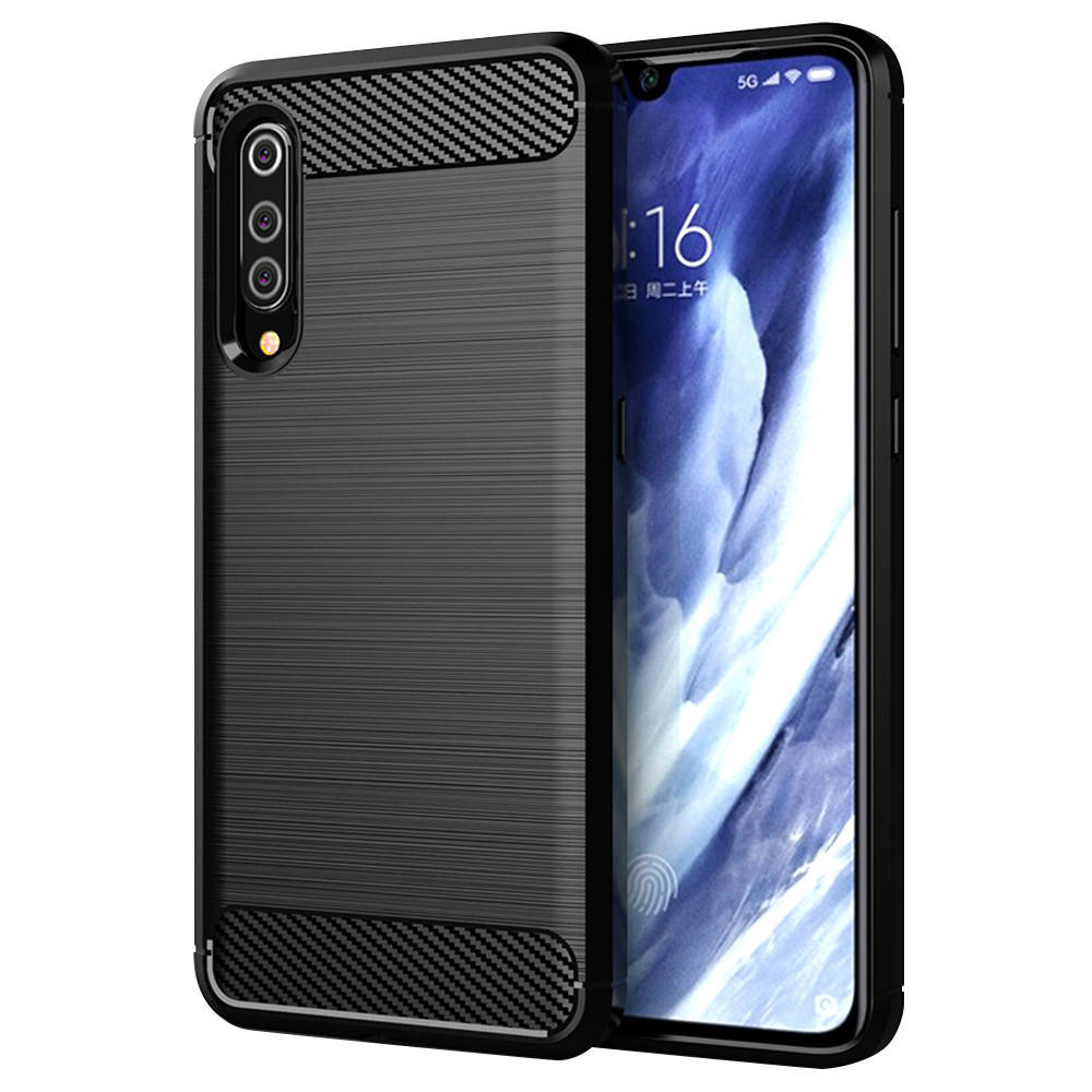 Makibes Carbon Fiber Texture Anti-fall Soft TPU Phone Case For Xiaomi Mi 9 Pro 5G Protective Back Cover - Black