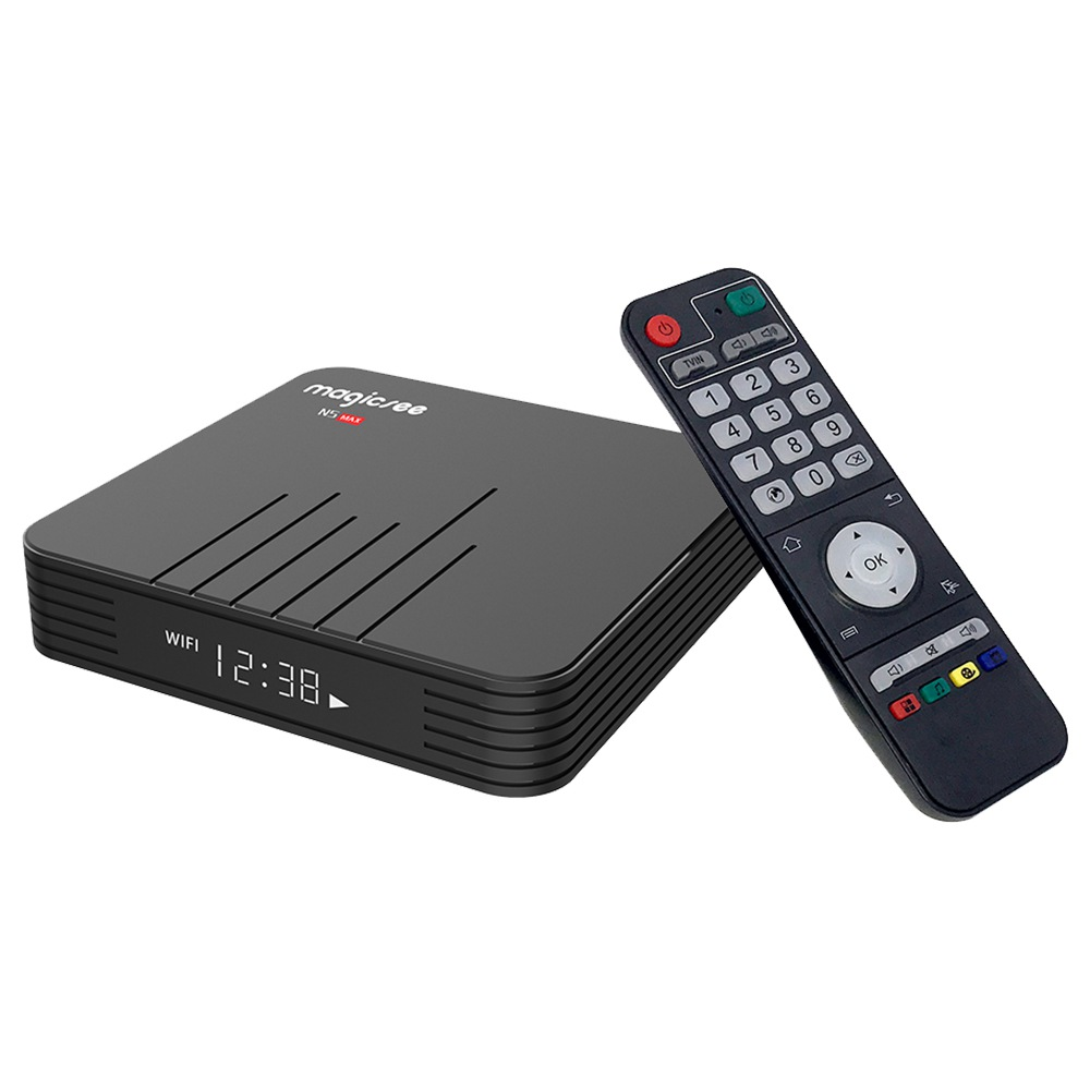 MAGICSEE N5 MAX Amlogic S905X3 Android 9.0 8K Video Decode TV Táblázat 4GB / 128GB 100Mbps LAN HDMI2.1 2.4G + 5G WIFI Bluetooth USB3.0