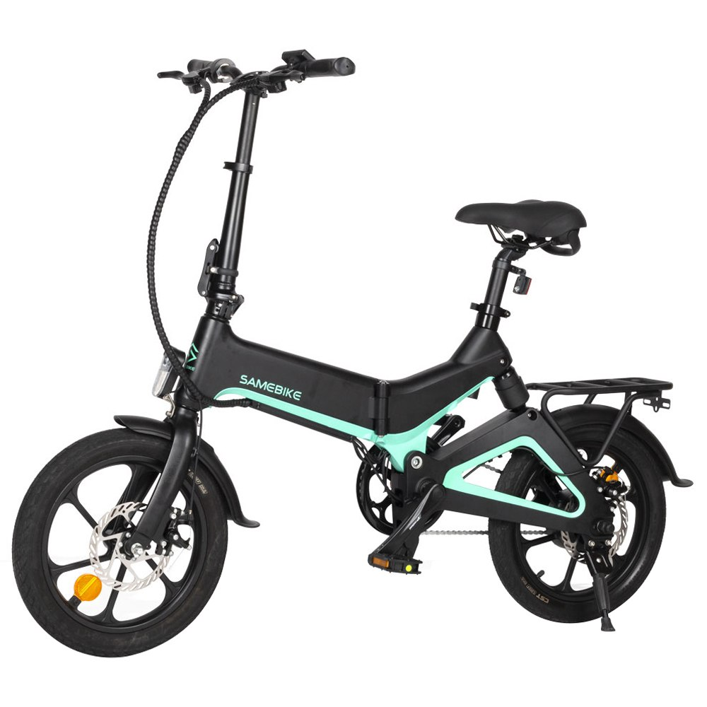 Samebike JG7186 Folding Electric Moped Bike 16 Inch Inflatable Tires 250W Motor Smart Display Adjustable Heights Up To 25km/h Speed Max 65km Long Range For Adults & Teenagers - Black