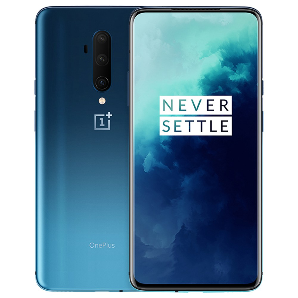 OnePlus 7T Pro 6.67 Inch 4G LTE Smartphone Snapdragon 855 Plus 8GB 256GB 48.0MP+8.0MP+16.0MP Triple Rear Cameras NFC Face Unlock Oxygen OS Android 10.0 Global Rom - Blue