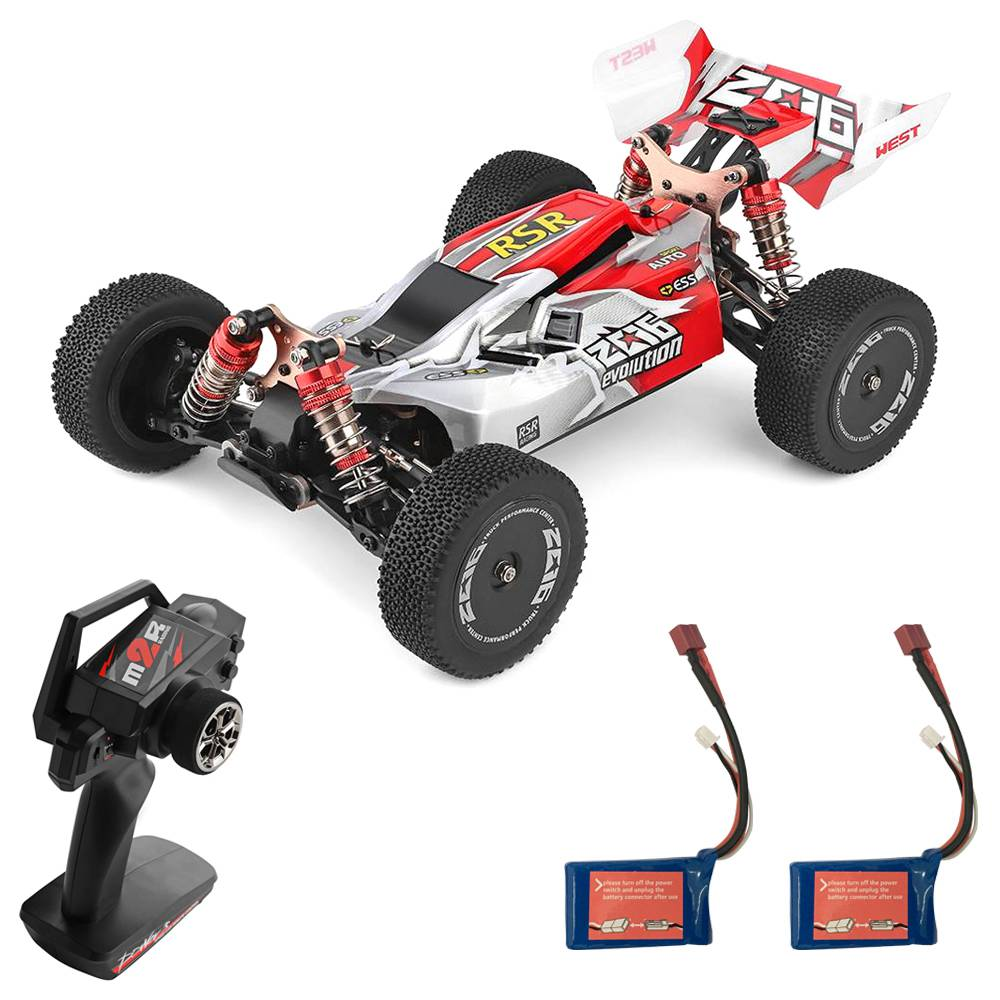 Wltoys 144001 1/14 2.4G 4WD 60km/h Electric Brushed Off-Road Buggy RC Car RTR Two Batteries - Red