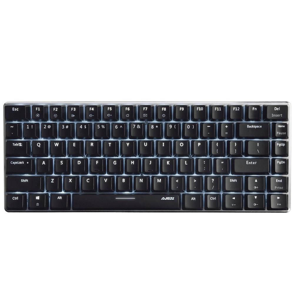 Ajazz AK33 Wired Mechanical Keyboard Black Switches Full White Backlight 82 Keys - Black фото