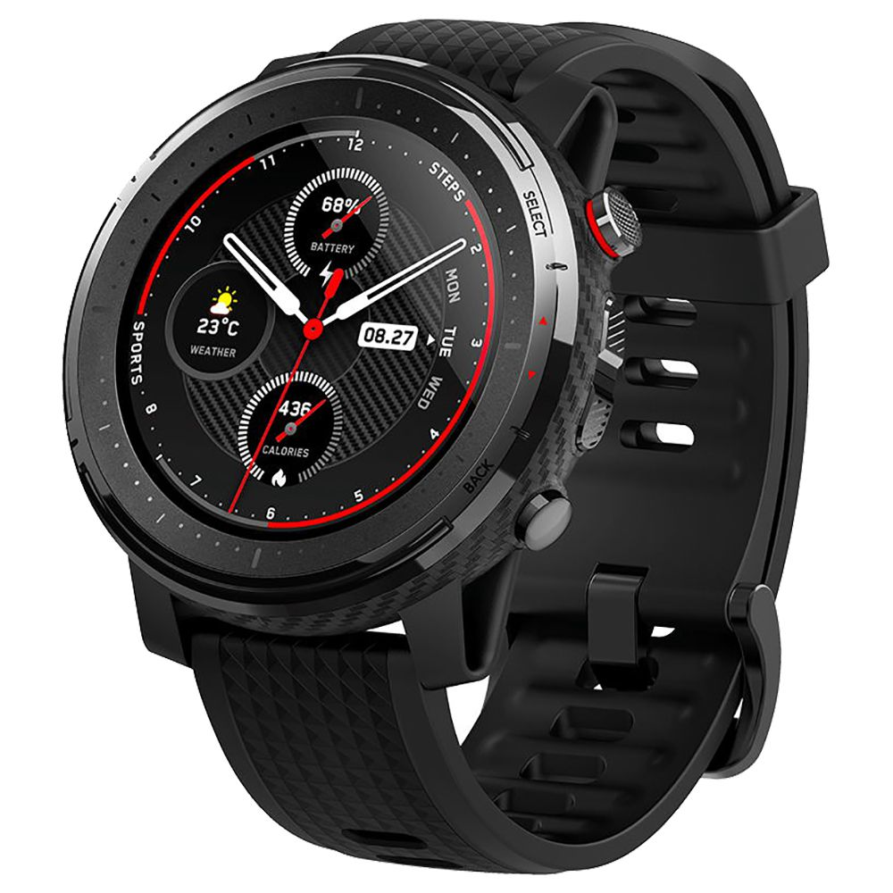 HUAMI AMAZFIT Stratos 3 Smart Sports Watch 1.34 pollici Full Moon Screen Dual-Mode GPS 5ATM Cinturino in silicone Firstbeat - Nero