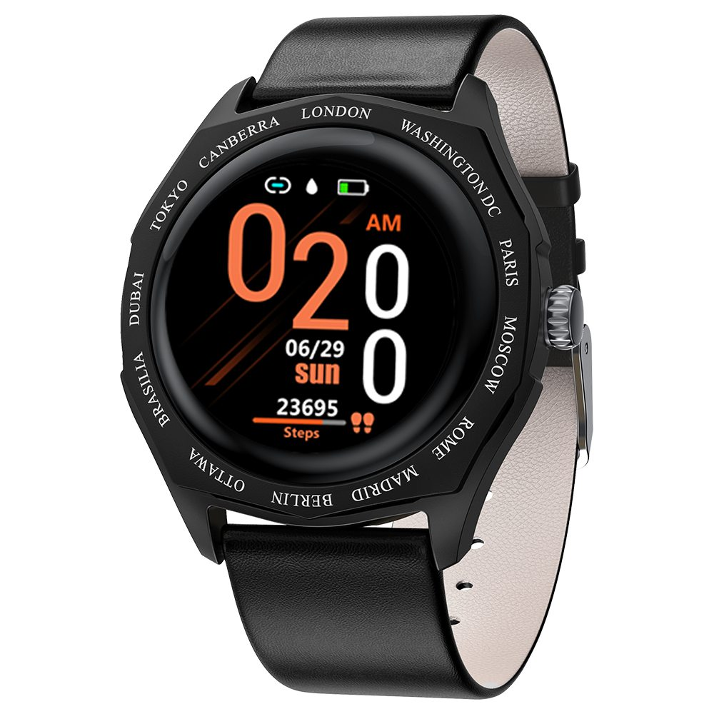 Makibes V18 Smartwatch Blood Pressure Monitor 1.08 Inch IPS Screen IP67 Water Resistant Heart Rate Sleep Tracker Leather Strap - Black