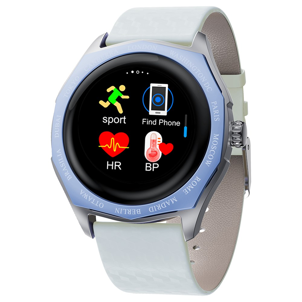Makibes V18 Smartwatch Blood Pressure Monitor 1.08 Inch IPS Screen IP67 Water Resistant Heart Rate Sleep Tracker Leather Strap - Blue