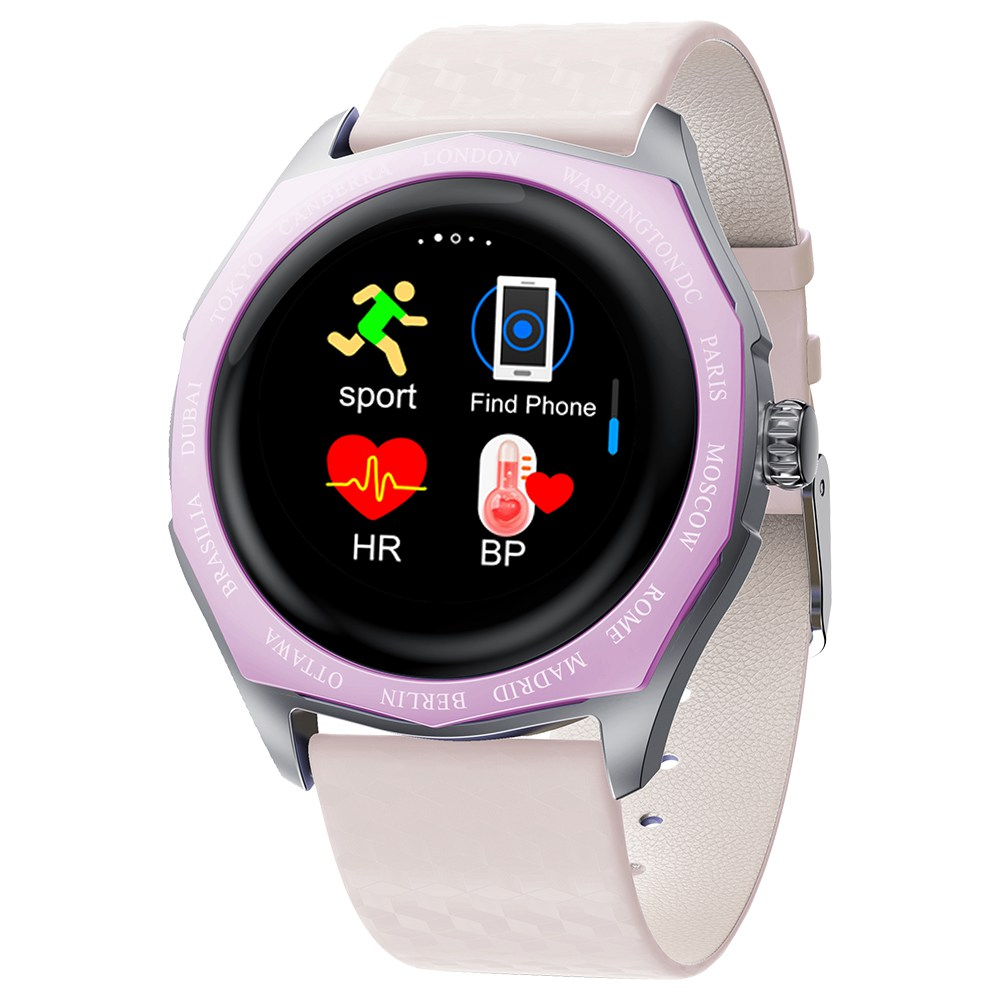Makibes V18 Smartwatch Blood Pressure Monitor 1.08 Inch IPS Screen IP67 Water Resistant Heart Rate Sleep Tracker Leather Strap - Purple