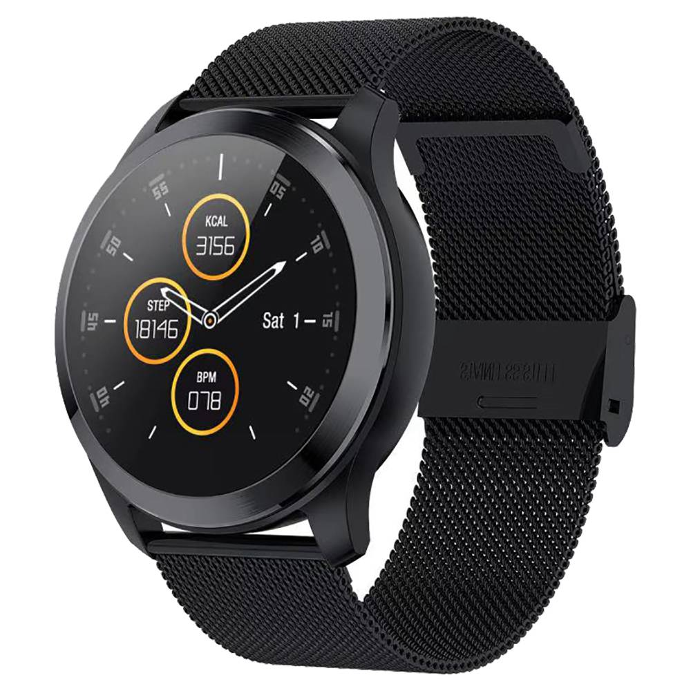 Makibes Z03 Smart Watch 1.22 Inch TFT Screen IP67 Water Resistant ECG PPG Measurement Heart Rate Blood Pressure Sleep Monitor Metal Strap - Black