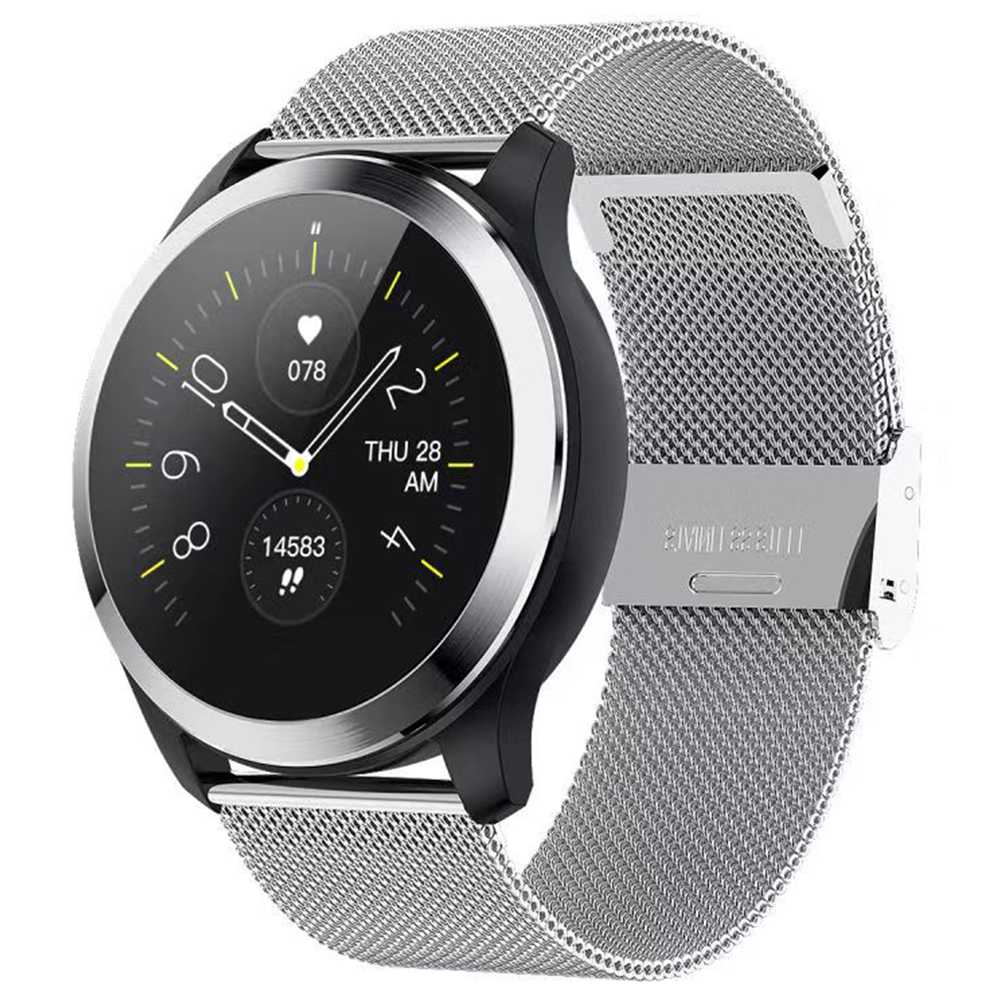 Makibes Z03 Smart Watch 1.22 Inch TFT Screen IP67 Water Resistant ECG PPG Measurement Heart Rate Blood Pressure Sleep Monitor Metal Strap - Silver