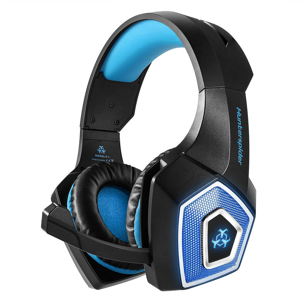 Hunterspider V1 RGB Light Gaming Headset 3.5mm Audio+USB Port with Mic for PS4 - Black+Blue
