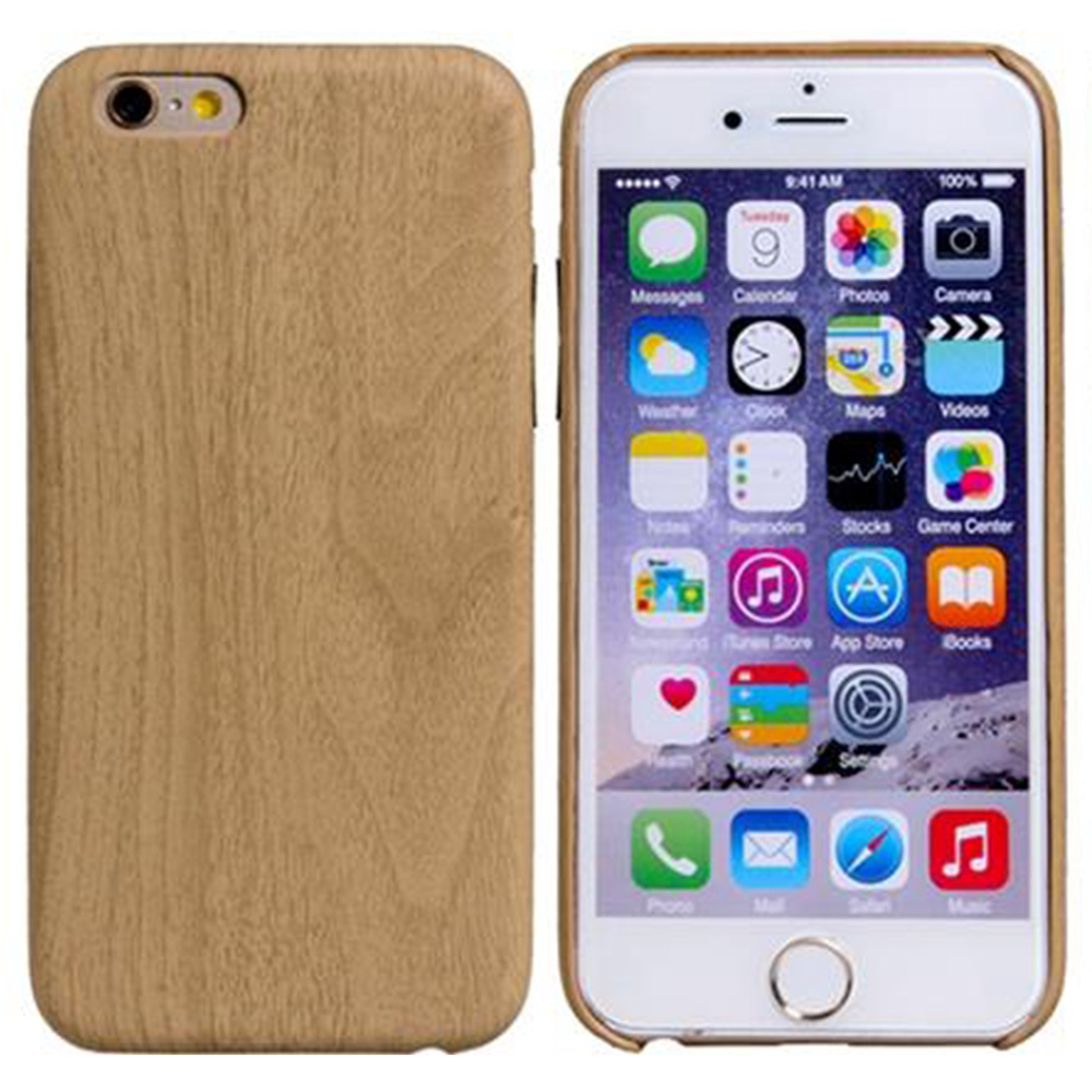 Wood Grain Design Faux Leather Protective Case For 5.5