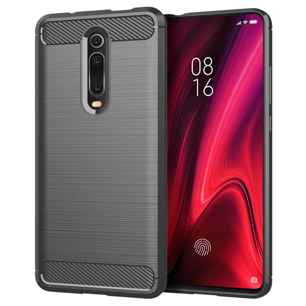 Makibes Carbon Fiber Texture Anti-fall Soft TPU Phone Case For Xiaomi Mi 9T / Mi 9T Pro Protective Back Cover - Grey