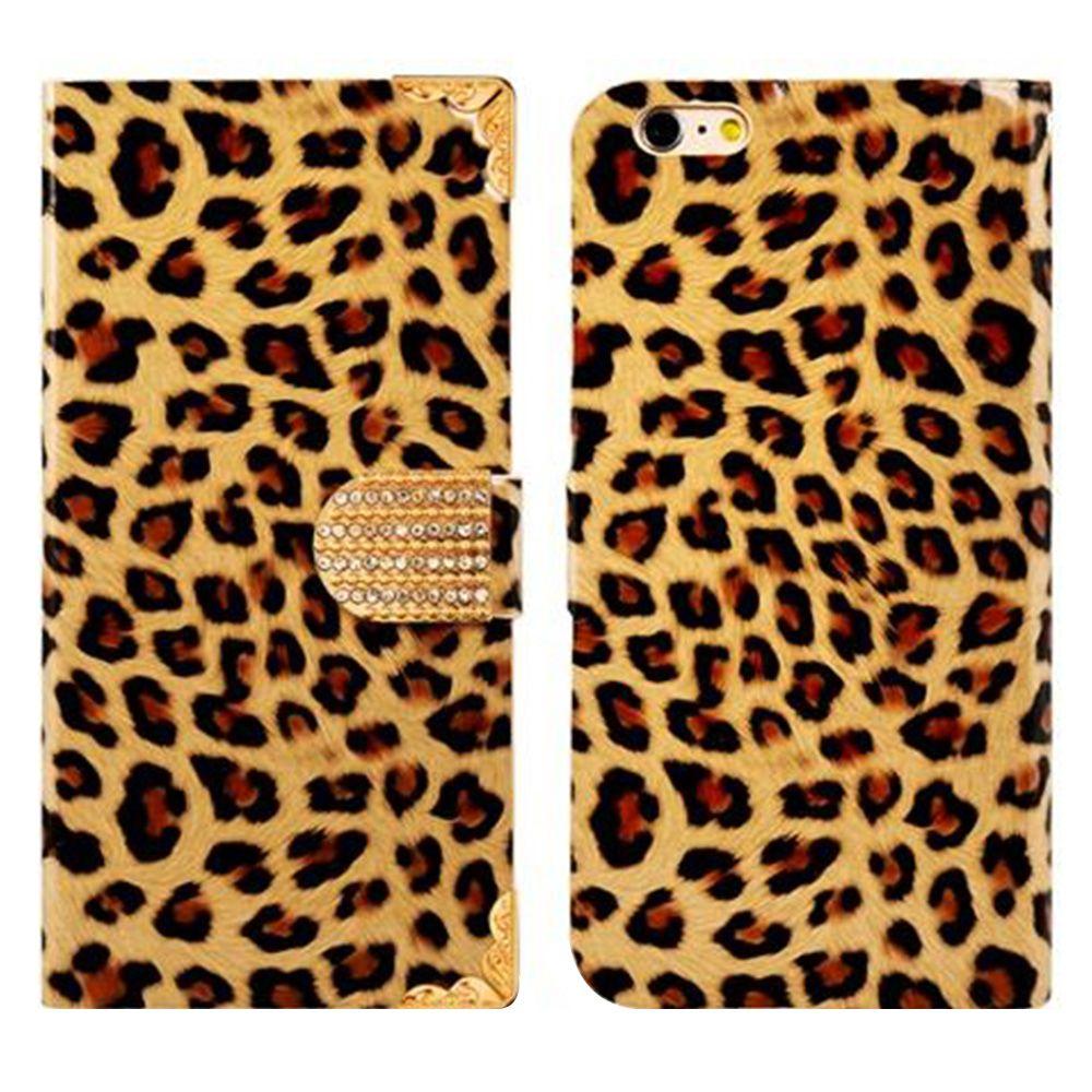 Kunstleder-Flip-Case mit Leopardenmuster und Standfuß und Kreditkartenfächern für 5,5
