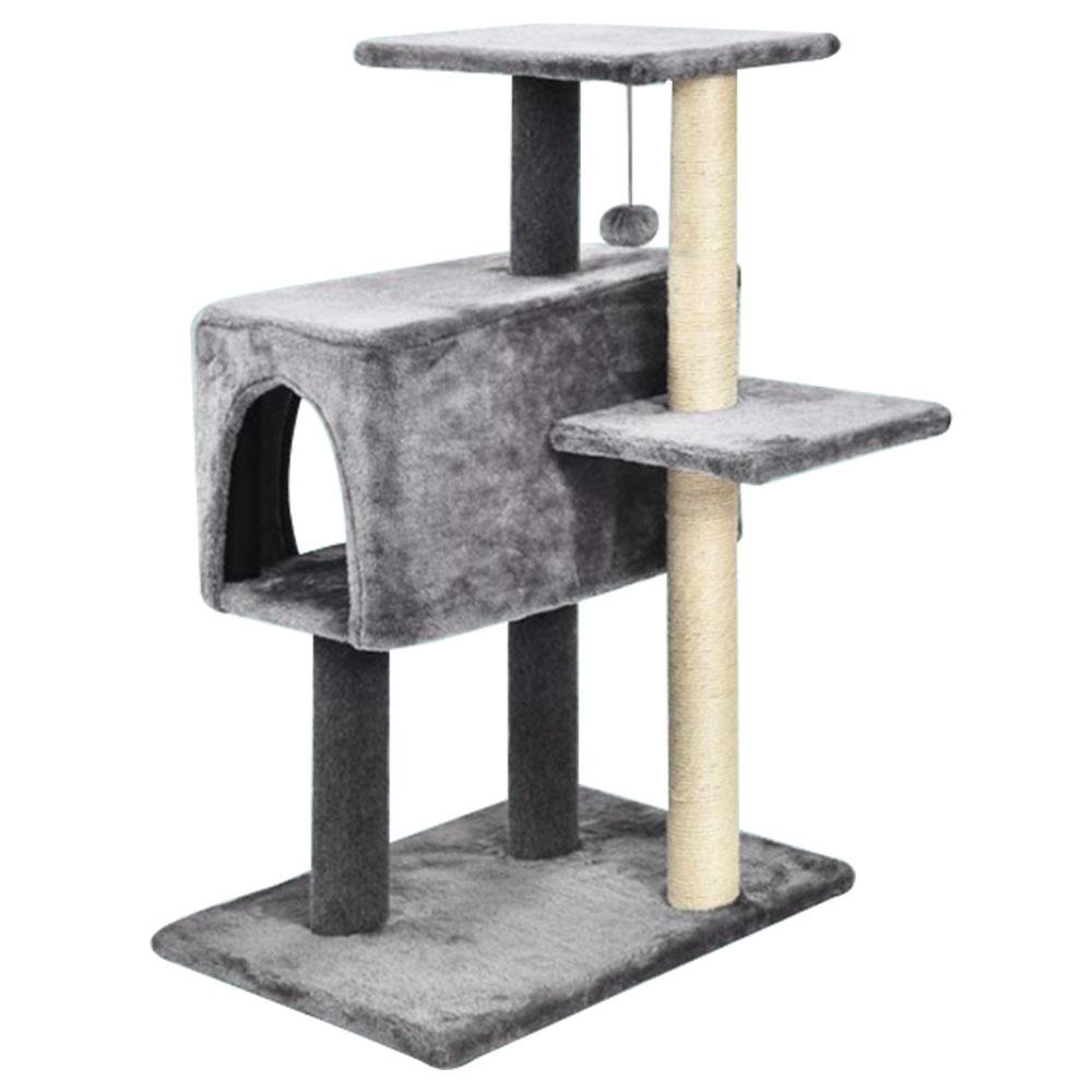 XIAOSHOUXING 84CM 3 Tiers Cat Climbing Tower Multi-functional With Scratching Post Cats Tree House From Xiaomi Youpin - Deep Grey