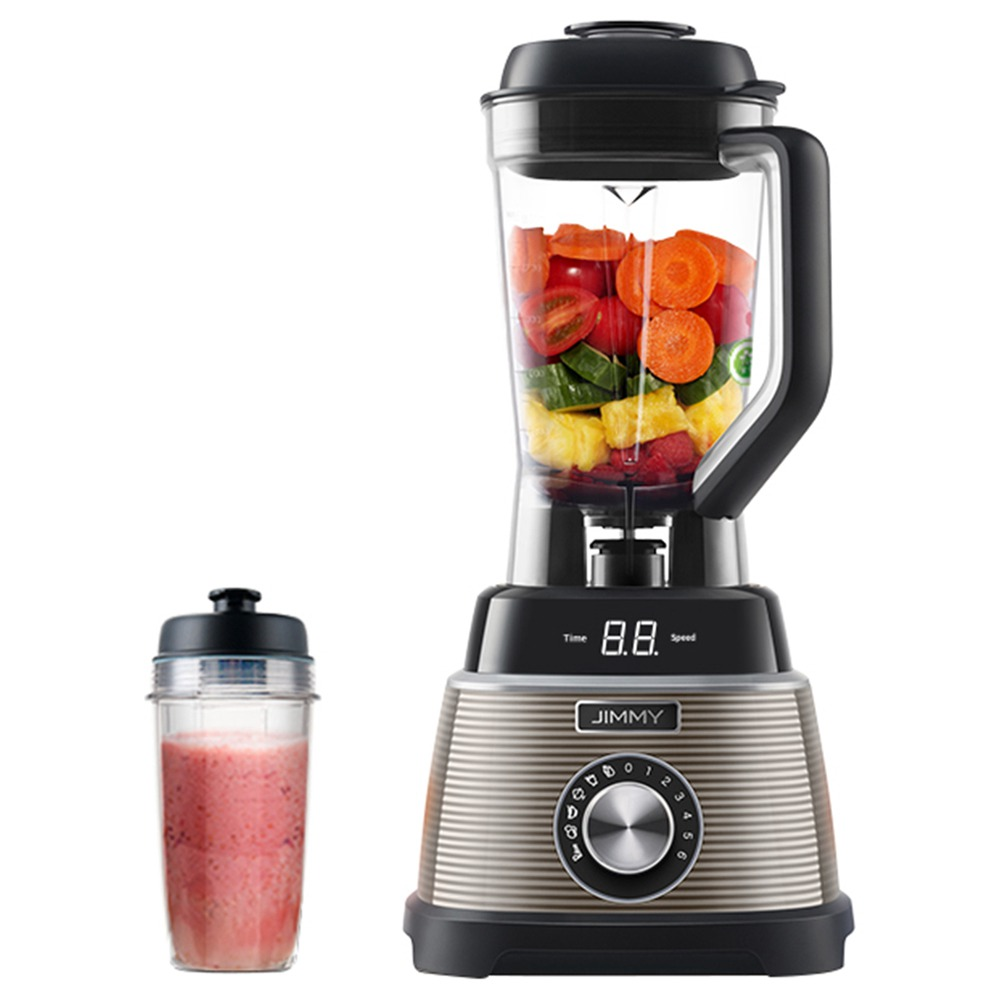 Xiaomi JIMMY B53 Smoothie Blender With LED Display 5 Intelligent Modes 1000W 6 Speed 1.5L BPA-free Glass Jug 25000 RPM High Speed 4 Sharp Blades Self-cleaning with Carry-on for Ice Nuts Soup Sauce - Gray