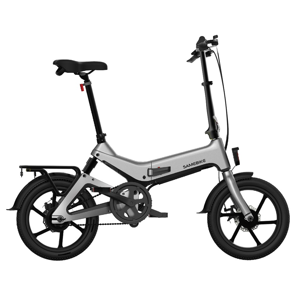 Samebike JG7186 Folding Electric Moped Bike 16 Inch Inflatable Tires 250W Motor Smart Display Adjustable Heights Up To 25km/h Speed Max 65km Long Range For Adults & Teenagers - Gray