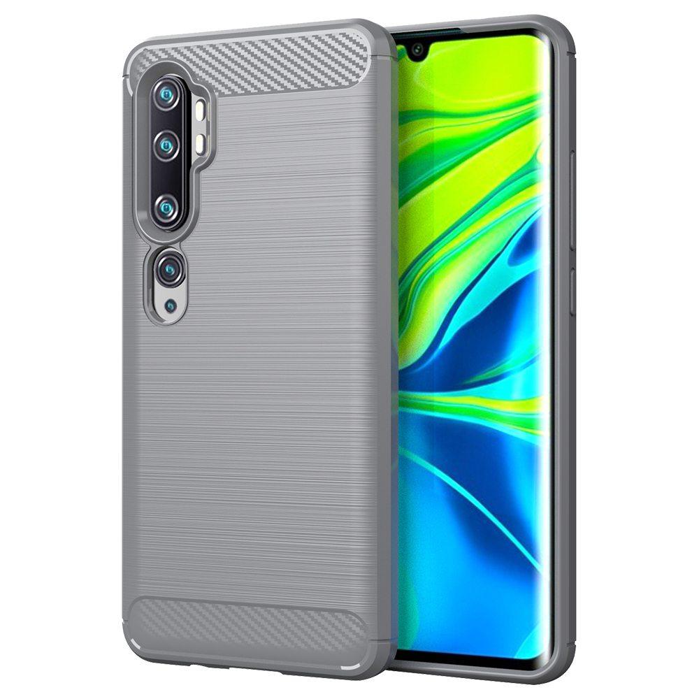 Custodia morbida in TPU anti-caduta in fibra di carbonio con texture per Xiaomi CC9 Pro / Xiaomi Mi Note 10 - Grigio