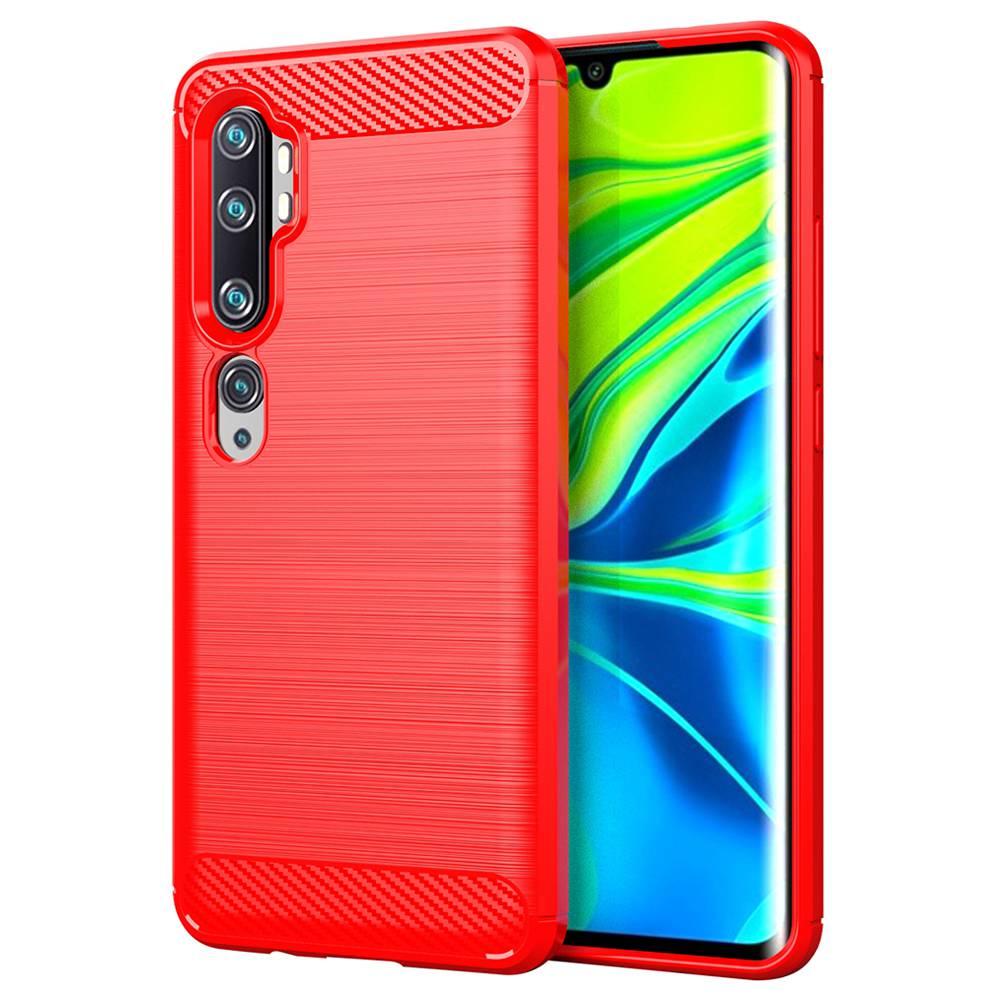 Custodia morbida in TPU anti-caduta in fibra di carbonio Makibes per Xiaomi CC9 Pro / Xiaomi Mi Note 10 - Rosso