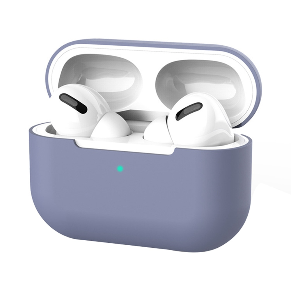 Flexible Silicone Storage Case Shockproof Dustproof for Airpods Pro Earphones Charging Case - Purple фото