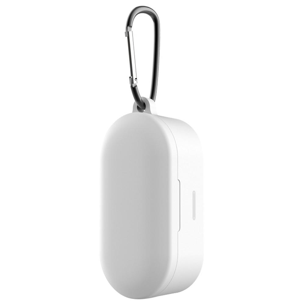 Rugalmas szilikon tároló tok ütésálló, porvédő, horoggal a QCY T1S / T2C / T2S TWS fülhallgató-töltő tokhoz - fehér