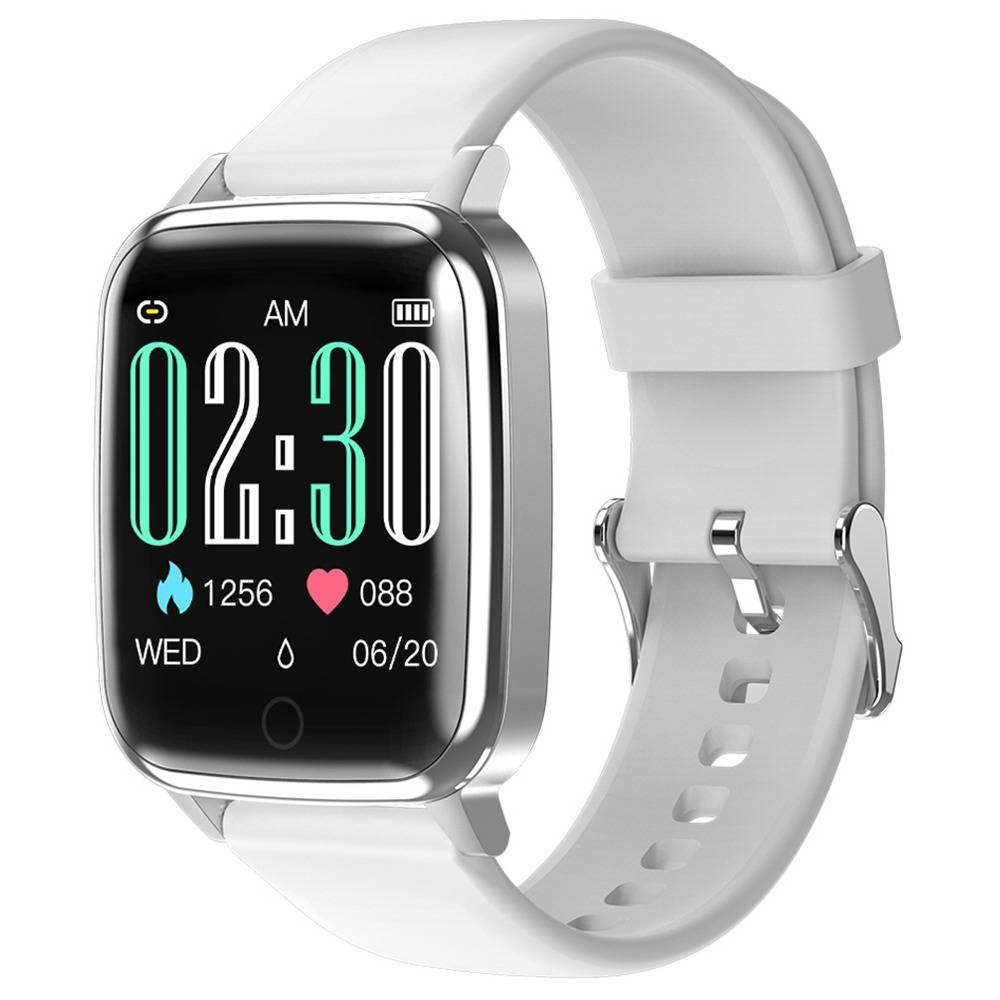 Makibes R1 SmartWatch 1.3 Inch IPS Screen IP67 Water Resistant Heart Rate Blood Pressure Sleep Monitor Fitness Tracker - White