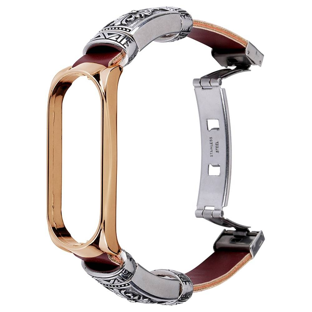 Metal Retro Replacement Strap With Butterfly Buckle For Xiaomi Mi Band 4 Smart Bracelet Brwon Leather Metal Frame - Rose Golden