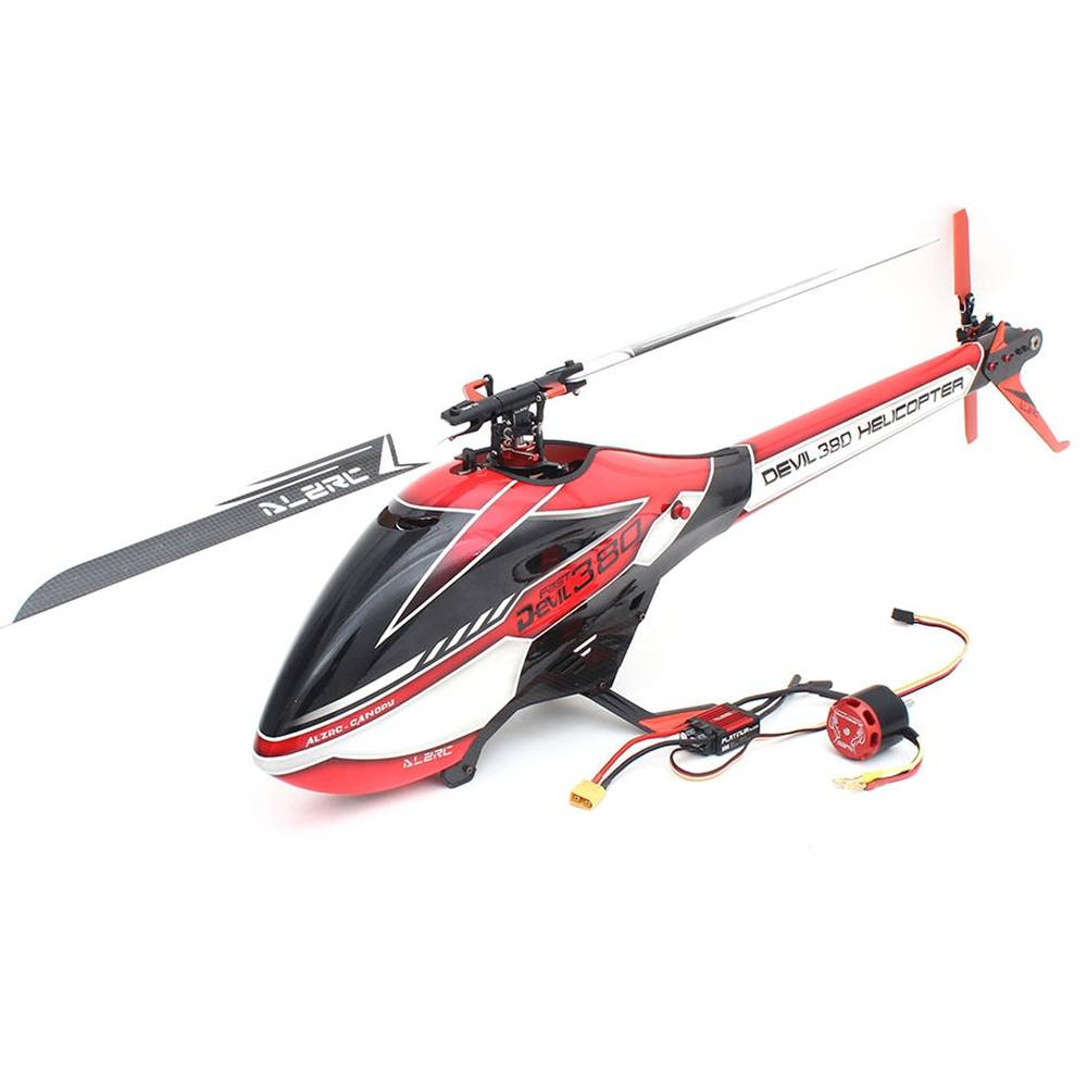 ALZRC Devil 380 FAST FBL 380mm Fibre Blades 6CH 3D Flying RC Helicopter Wersja Combo - czerwona