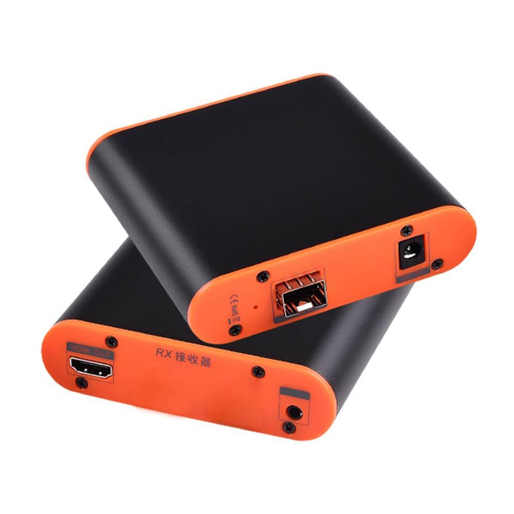 ميلي OPT882 20km الألياف البصرية موسع 1080P HD التناظرية الصوت والفيديو الارسال استقبال الاتحاد الأوروبي التوصيل - أسود / برتقالي
