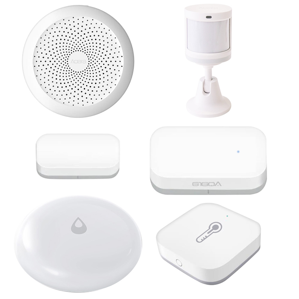 Xiaomi Aqara Wireless WiFi Zigbee Smart Gateway + Body Sensor + Window Door Sensor + Water Sensor + Temperature Humidity Sensor - White