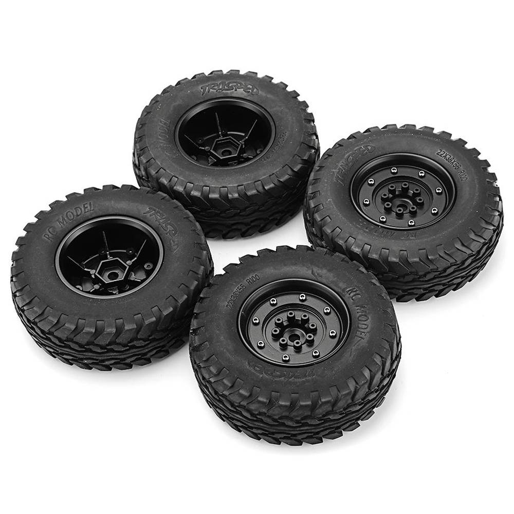 4pcs HG P408 1/10 U.S.4X4 Military Vehicle Truck RC Car Spare Parts Rims & Tires Wheels - Black