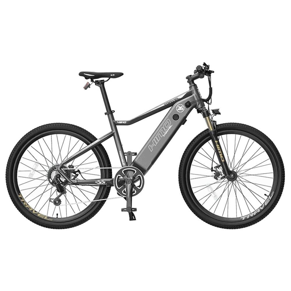 دراجة كهربائية HIMO C26 26 بوصة 250 واط قابلة للإزالة بطارية 48 فولت 10 أمبير تصل إلى 100 كم فرامل قرصية مزدوجة SHIMANO 7s نظام تبديل التروس إطار من سبائك الألومنيوم قابل للتعديل مرتفعات - رمادي