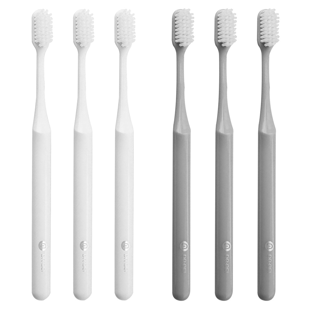 Xiaomi Doctor BET Toothbrush Handle Manual Eco-friendly Soft Toothbrush - 3PCS White + 3PCS Grey