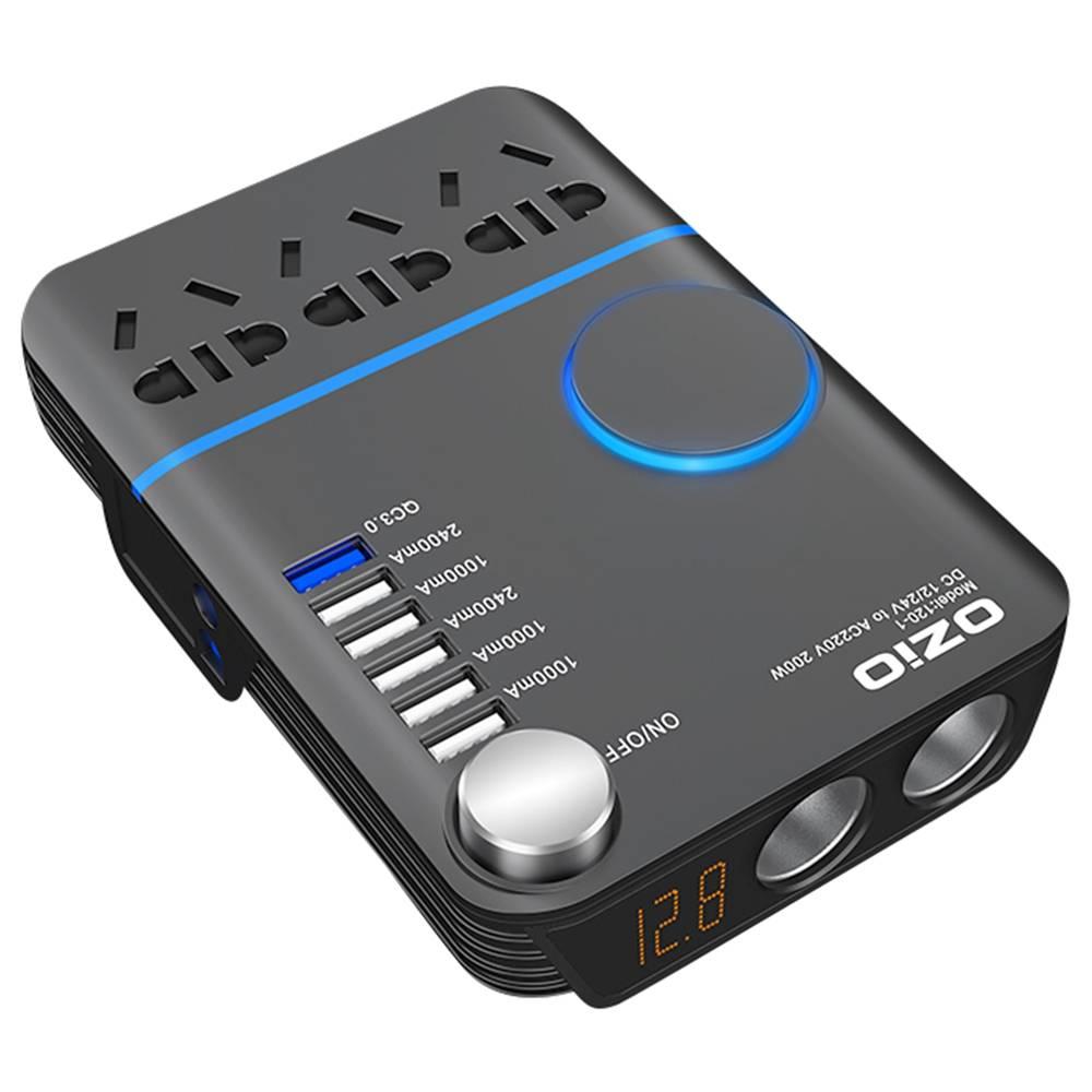 OZIO I20-I 200W Car Power Inverter DC 10-30V AC Converter LED Display QC3.0 Dual Cigarette Lighter - Black