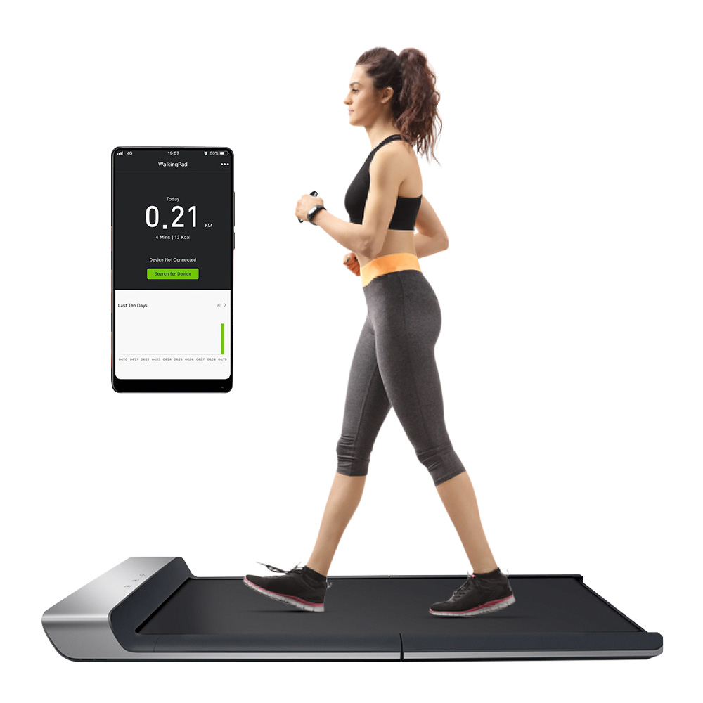 WalkingPad A1 Foldable Electric Treadmill Handheld Remote Control Pressure Sensor Fitness Walking Machine Manual Automatic Mode - Black
