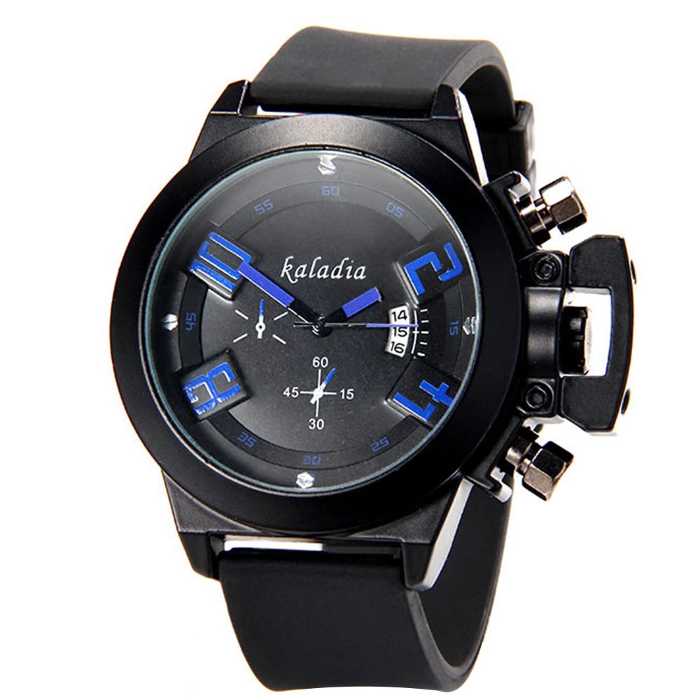 カラディア8911ファッションPUストラップアナログクォーツスポーツ腕時計マン - ブルー