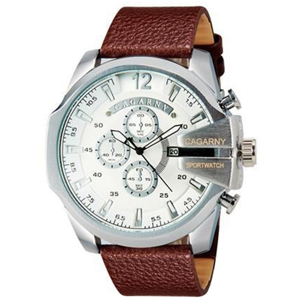 CAGARNY 6839 Men's Fashionable Large Dial Analog Sport Watch with Calendar - Brown+White