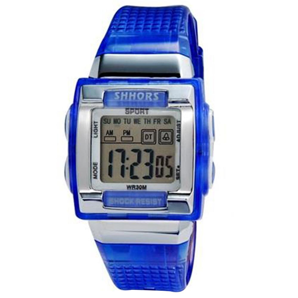 SHORS SH-358 Unisex Rectangular LED Digital Display Водонепроницаемые часы M. - Blue