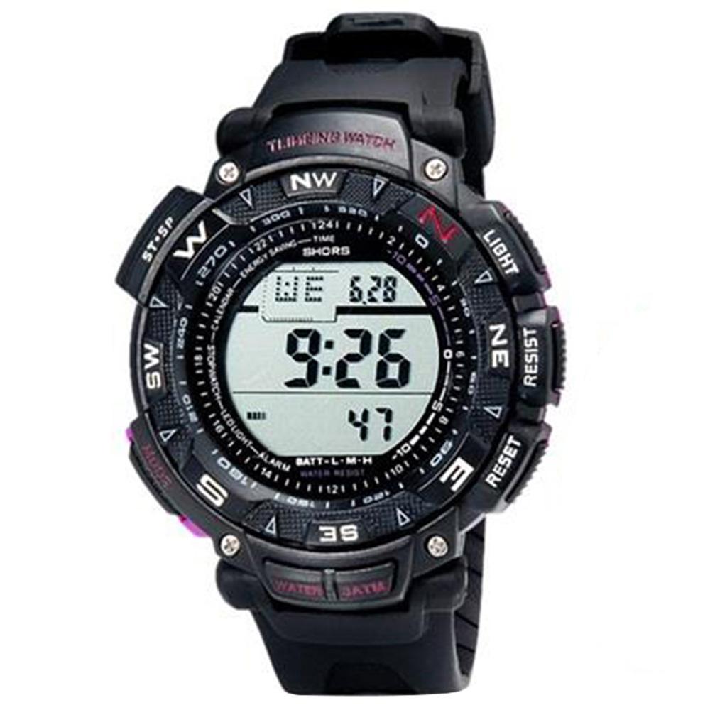 Универсальный круглый светодиодный цифровой водонепроницаемый часы с будильником и подсветкой - черный